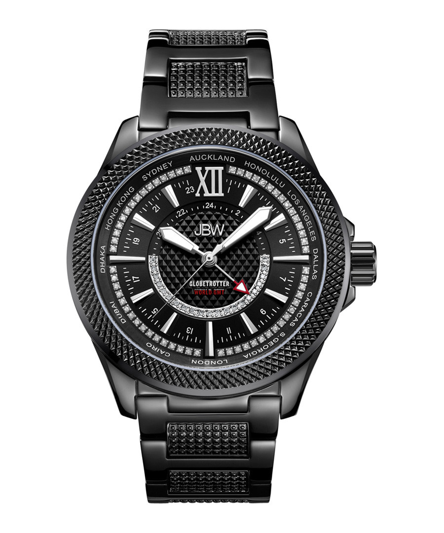 Globetrotter black steel diamond watch Sale - jbw