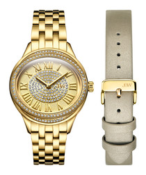 Plaza Set 18k gold-plated diamond watch