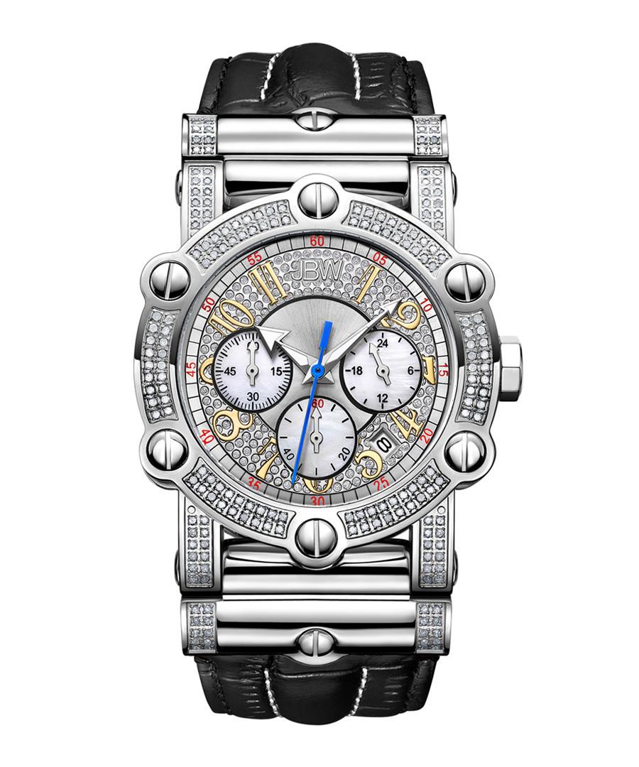Phantom diamond & black leather watch Sale - jbw