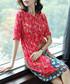 Red pure silk knee length dress Sale - ELENYUN Sale