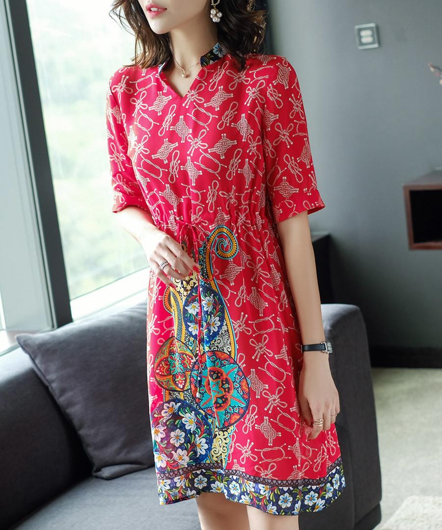 Red pure silk knee length dress Sale - ELENYUN
