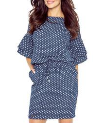 Blue & white polka flute-sleeve dress