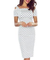 White cold-shoulder knee-length dress