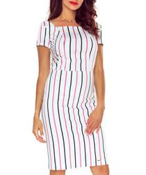 Multi-colour cotton stripe midi dress