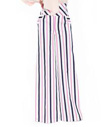 White cotton stripe wide-leg trousers