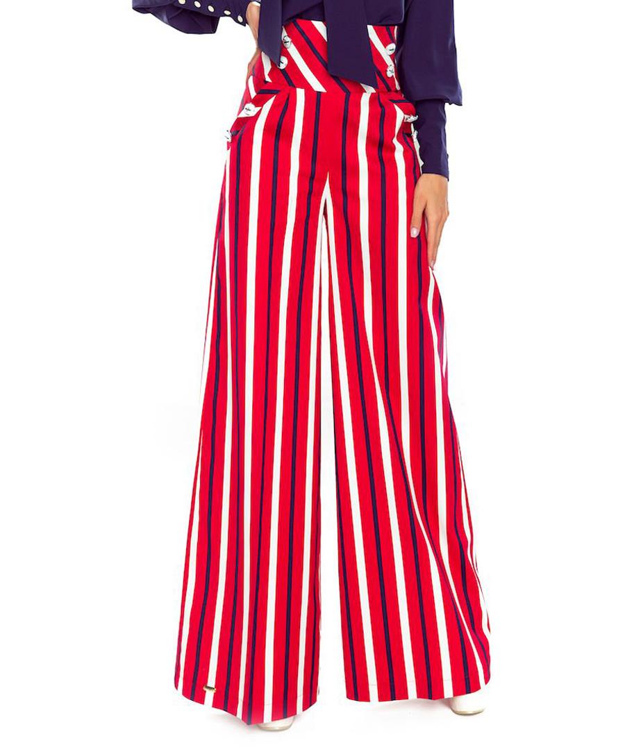 Red cotton stripe wide-leg trousers Sale - bergamo