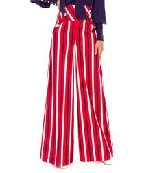 Red cotton stripe wide-leg trousers