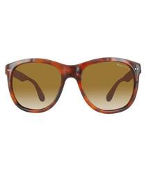 Havana & brown lens rounded sunglasses