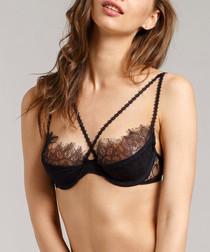 Black strap-detail bra