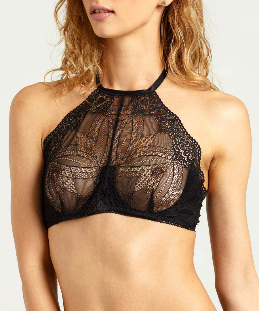 Black lace high-rise bra Sale - Lace up