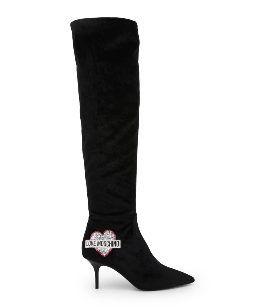 Black velvet logo over-the-knee boots Sale - love moschino