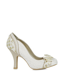 Amy cream bow detail heeled pumps