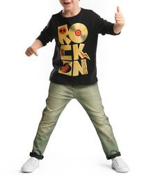 Boys' Rocker DJ black cotton outfit set