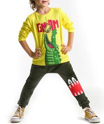 Boys' Gnam yellow cotton outfit set