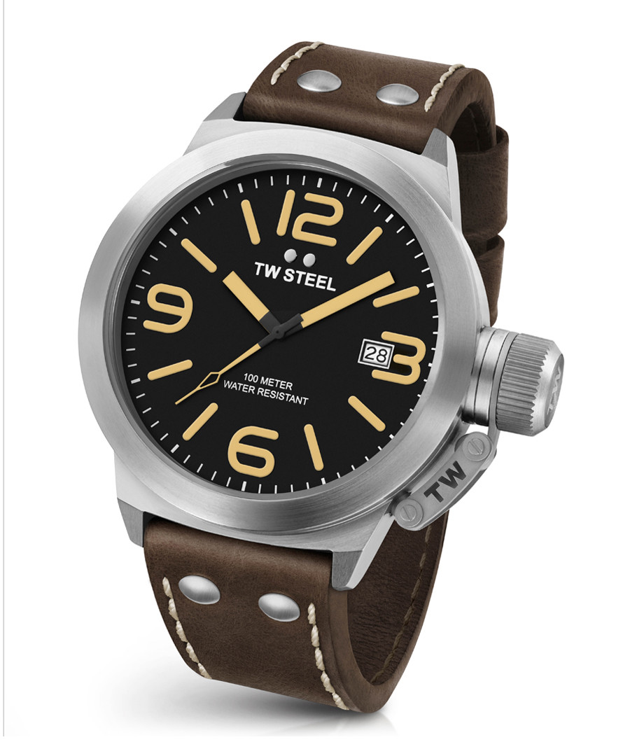 Canteen brown leather strap watch Sale - tw steel