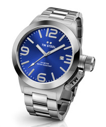 Canteen silver-tone steel quartz watch