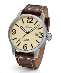 Maverick brown leather strap watch