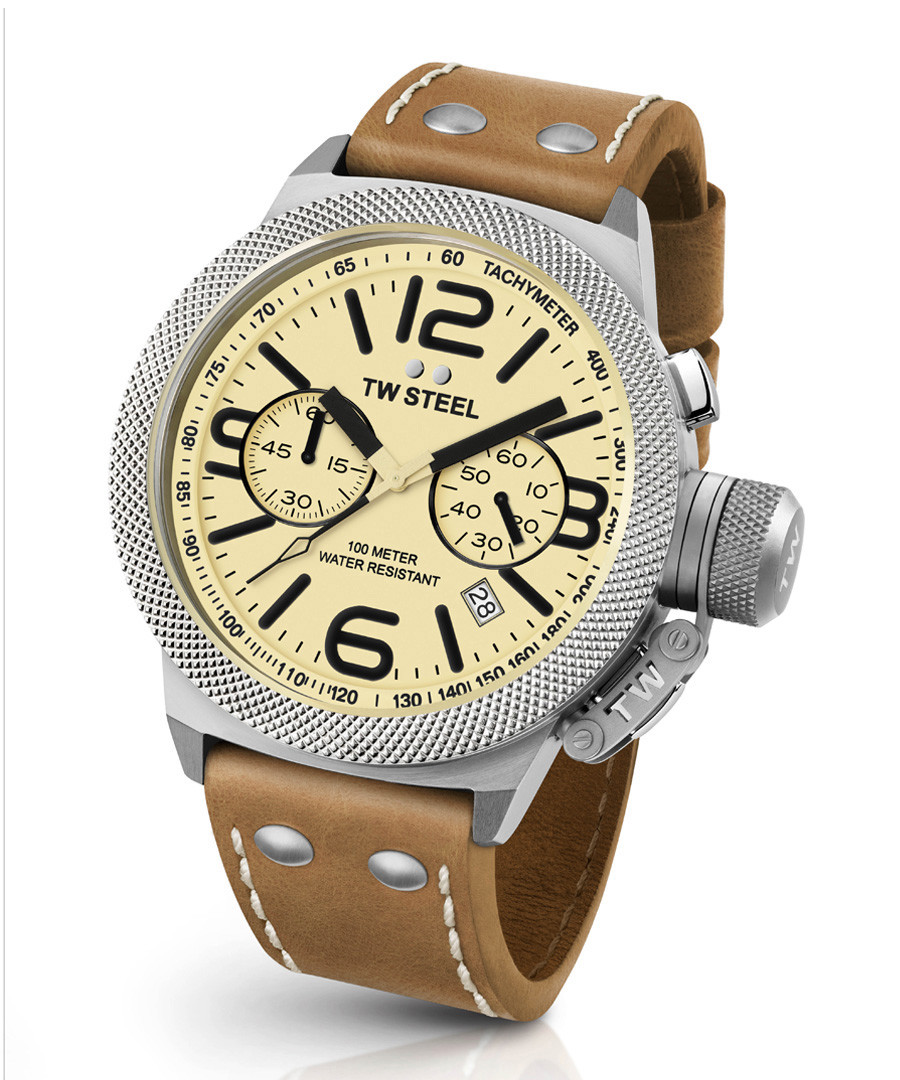 Canteen tan leather strap number watch Sale - tw steel