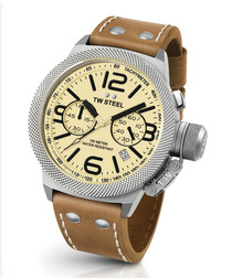 Canteen tan leather strap number watch