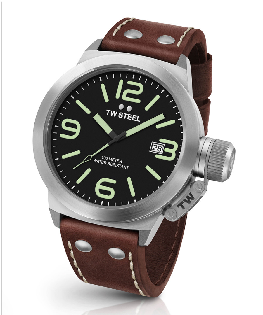 Canteen brown leather strap steel watch Sale - tw steel