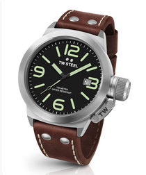 Canteen brown leather strap steel watch
