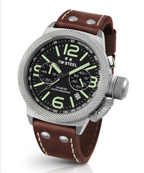 Canteen brown & silver leather watch