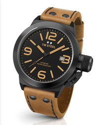 Canteen black & tan leather strap watch