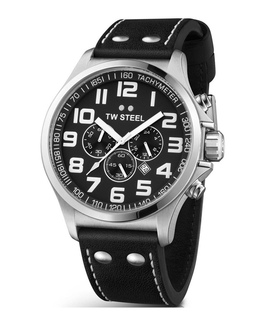 Pilot black & silver-tone leather watch Sale - tw steel