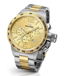 Canteen silver-tone & gold-tone watch