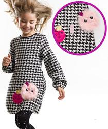 Girls' Zizi black cotton motif dress