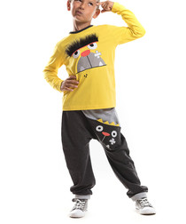 Boys' King Dog yellow cotton outfit set