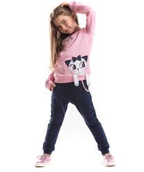 2pc pink cat cotton blend outfit set