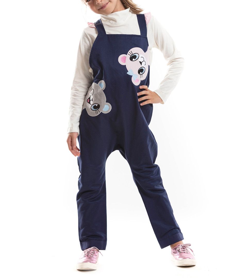 2pc teddy print cotton blend overall set Sale - Mushi