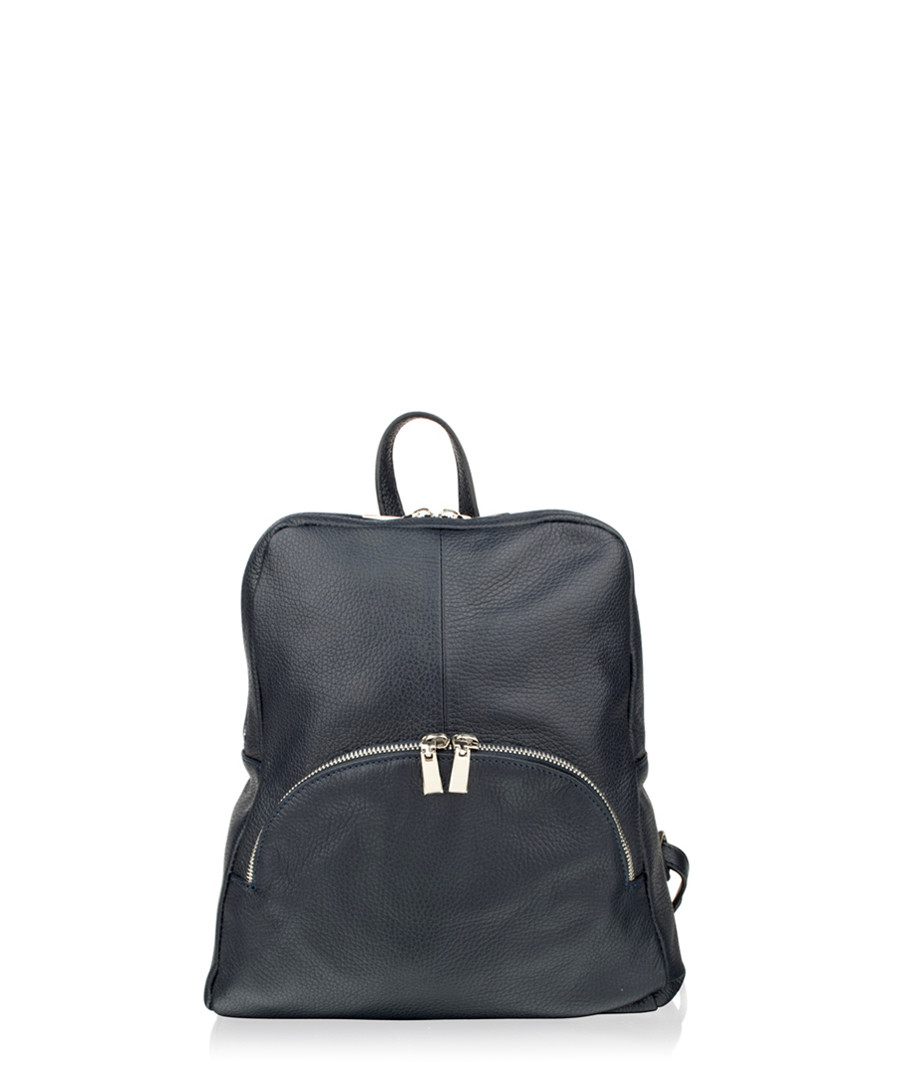 Navy leather zip detail backpack Sale - woodland leathers
