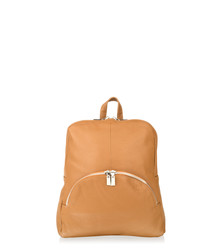 Tan leather zip detail backpack