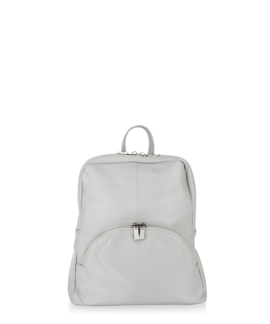 Light grey leather zip detail backpack Sale - woodland leathers