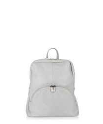 Light grey leather zip detail backpack