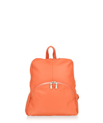 Orange leather zip detail backpack