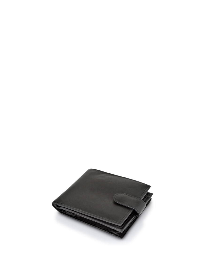 Black leather tab-fastened wallet Sale - woodland leather