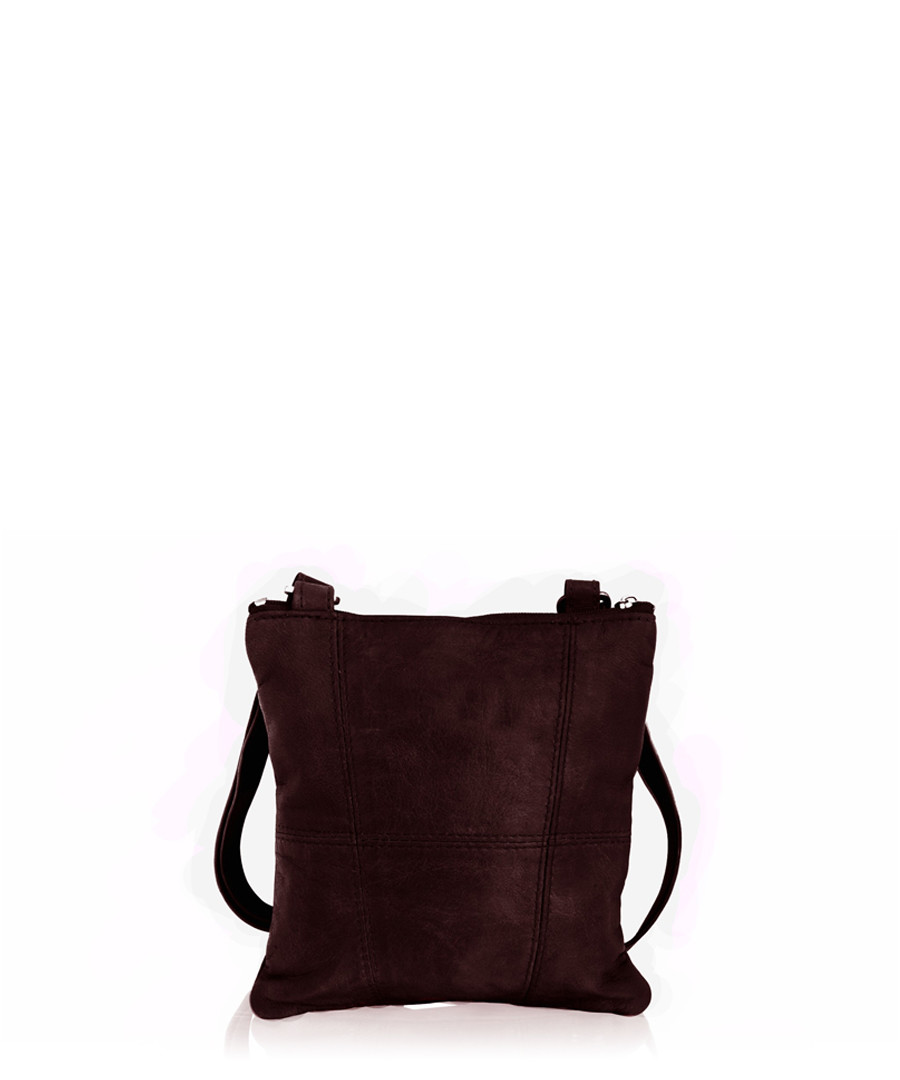 Berry leather cross body bag Sale - woodland leather