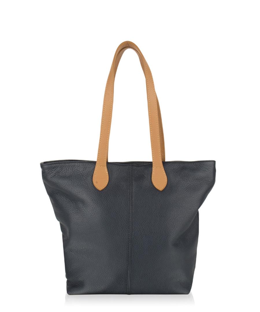 Navy & brown leather shoulder bag Sale - woodland leathers