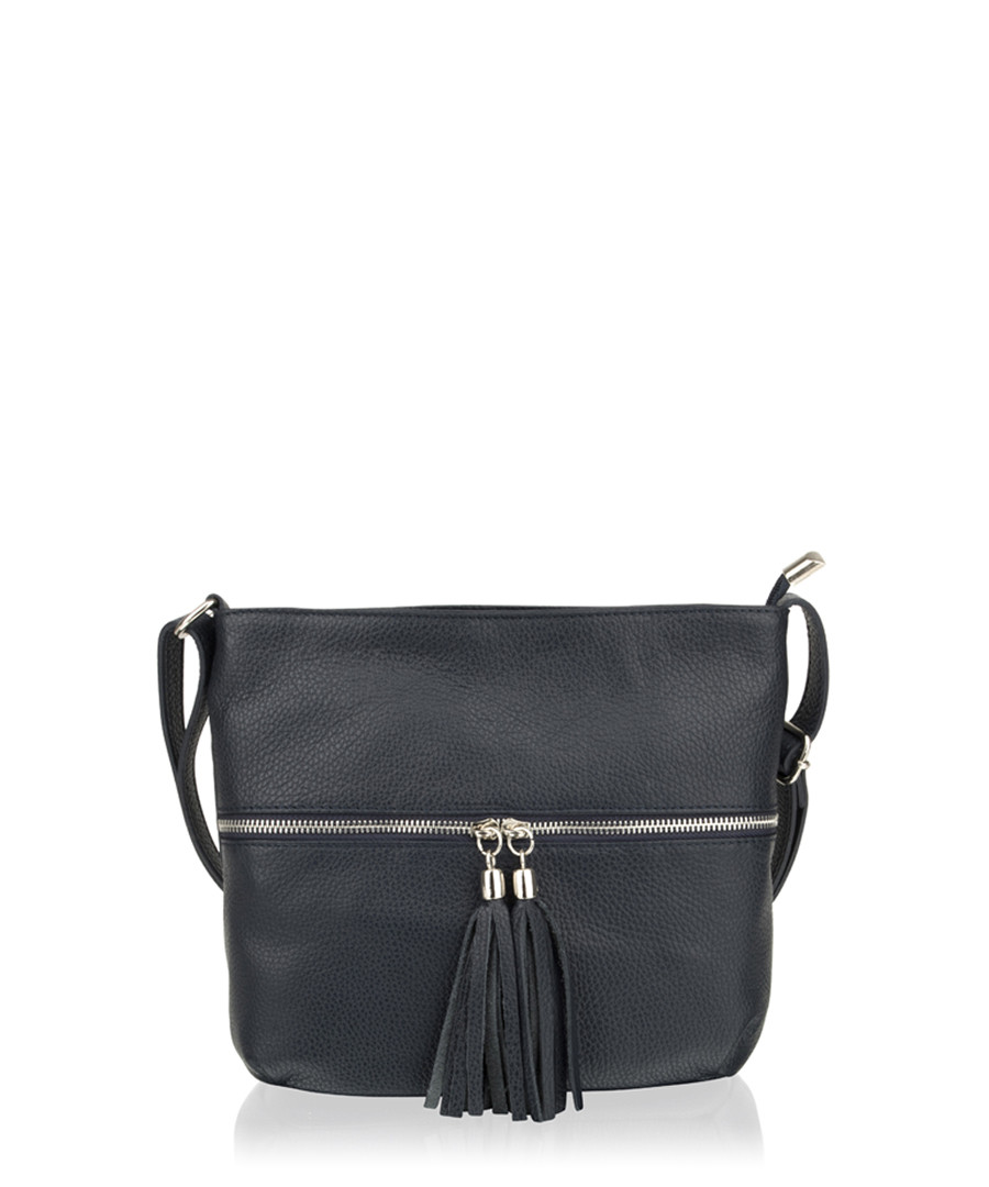 Black leather tassel-zip cross body bag Sale - woodland leathers