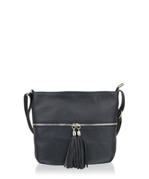 Black leather tassel-zip cross body bag
