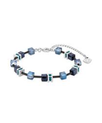 Black & silver-tone crystal bracelet