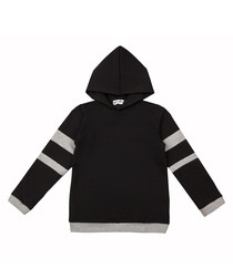 Unisex black & grey pure cotton hoodie