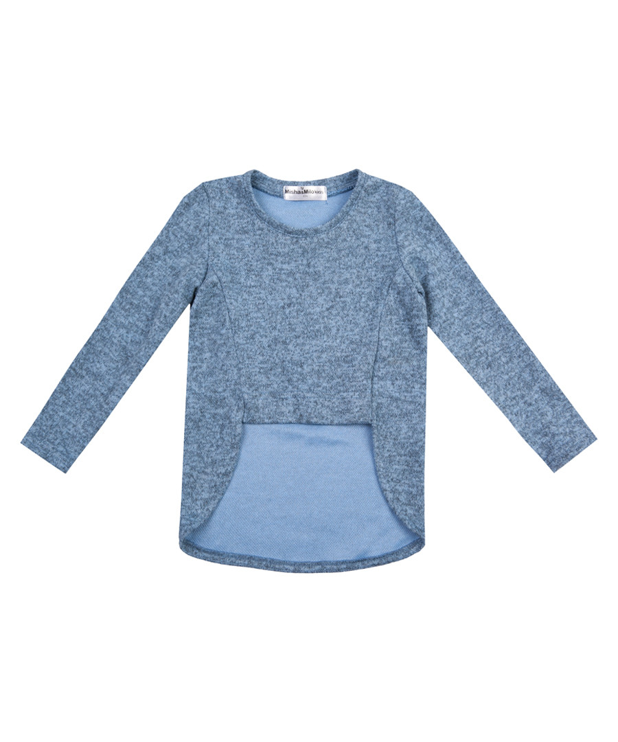 Girl's blue pure cotton sweatshirt Sale - Misha & Milo Kids