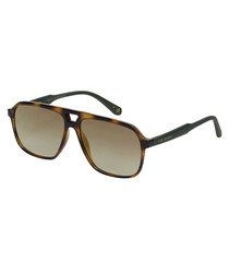 Green & Havana aviator style sunglasses