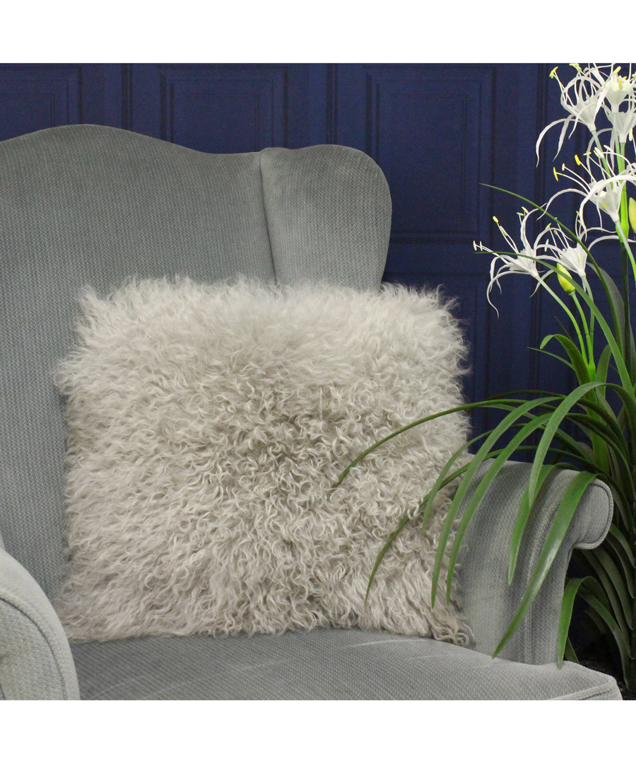 Grey birch real fur cushion 40cm Sale - riva paoletti