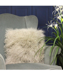 Grey real fur cushion 40cm