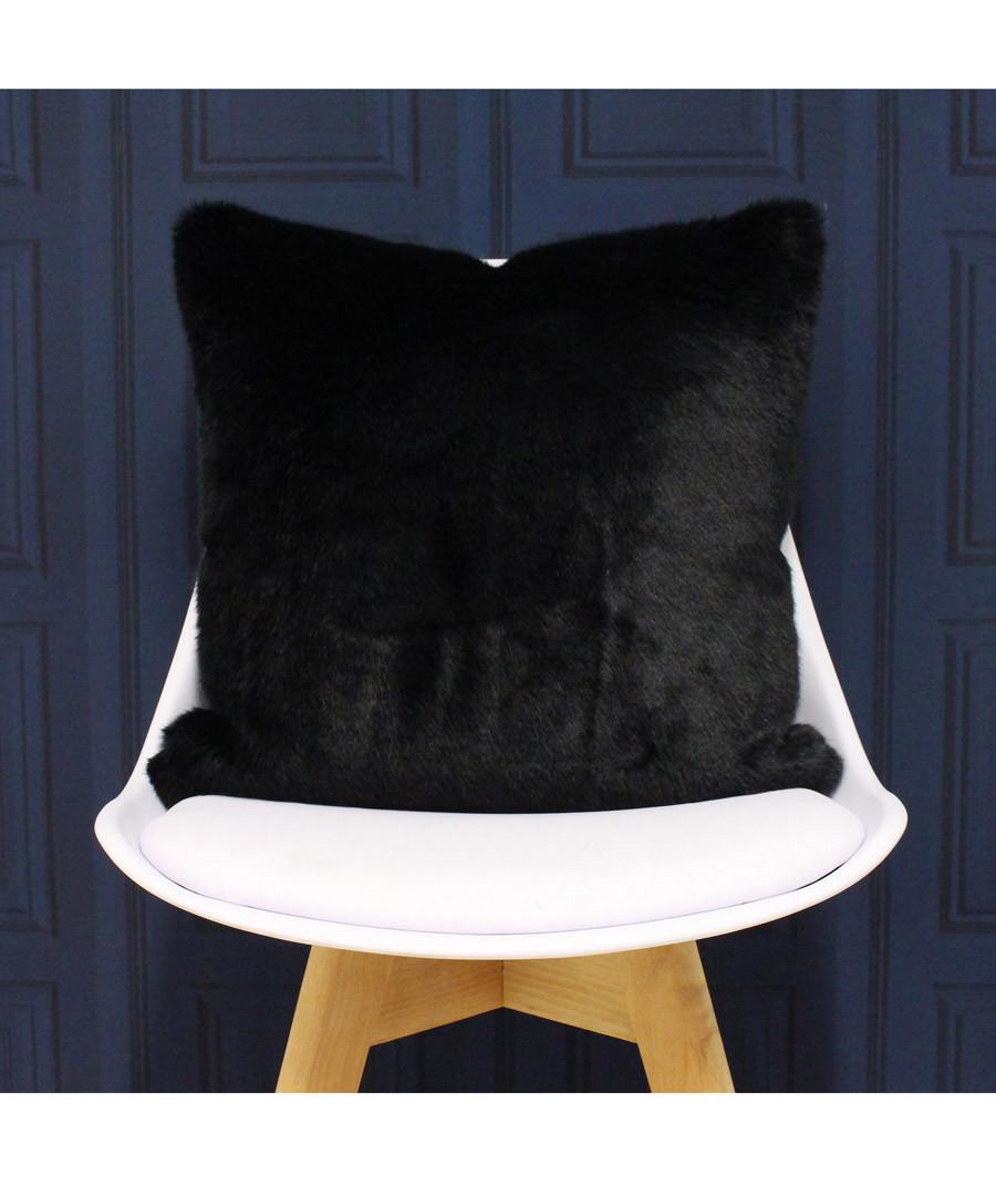 Russ black faux fur cushion 45cm Sale - riva paoletti